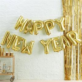 """SONDERPOSTEN: Ballon Buchstaben Schriftzug """"HAPPY NEW YEAR"""" Silvester Neujahr gold"""