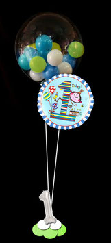 Bubble-Bouquet mit Folienballon und Zahl