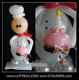 Geschenkballon - Geldgeschenk: Bäcker mit Törtchen