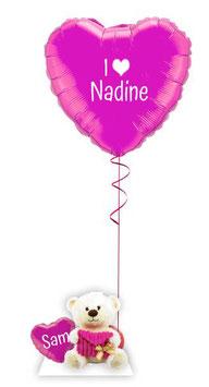 Heliumherz zum Valentinstag mit Teddy Bär - personalisiert