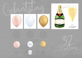 "Ballon - Girlanden - Set: Geburtstag ""Champagner"""
