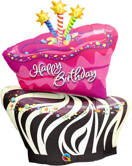 16081 Birthday Funky Zebra Stribe Cake