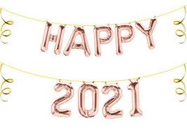 """Ballon Buchstaben Schriftzug  """"HAPPY 2021"""" Silvester Neujahr"""