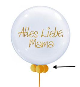 4 Miniballons am Ballonhals
