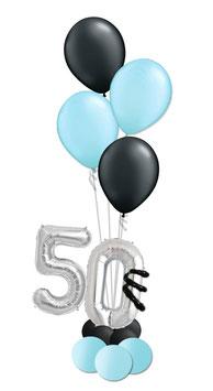 Geburtstagszahl mit Helium-Bouquet