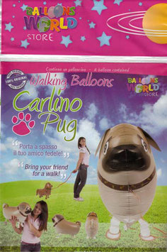 Airwalker: Tier-Luftballon Hund Mops unbefüllt