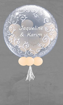 Bubble Geschenk-Luftballon mit Namen des Brautpaars
