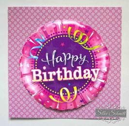 """Glückwunsch-Karte """"Happy Birthday"""" Luftschlangen"""