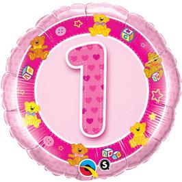 Ballon Geburtstag-Zahl: 1  Teddy Bär pink