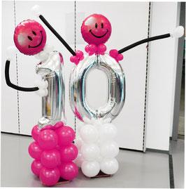 lustige Ballon-Jubiläums-Zahl mit Smileys