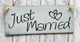 "Holzschild ""Shabby-Look"": ""Just Married"""