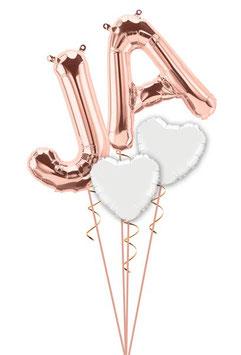 XXL Folienballon Buchstaben JA mit Herzen