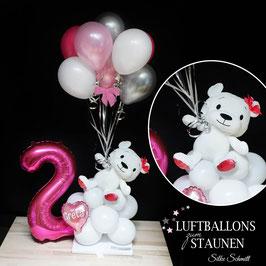 süßes Ballon-Arrangement: Teddy mit Mini-Bouquet