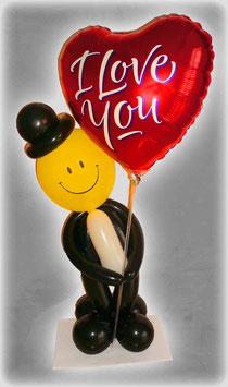 """kleiner Luftballon-Gentleman mit Herz """"I Love You"""""""