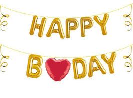 """Ballon Buchstaben Schriftzug """"Happy Bday"""" inkl. Herz"""