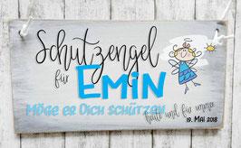 """Holzschild Geburt Baby: Schutzengel im """"Shabby-Look"""""""