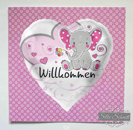 """Glückwunsch-Karte """"Willkommen"""" Elefant"""