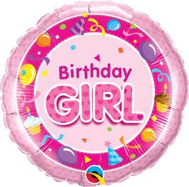 Ballon Geburtstag-Mädchen: Birthday Girl pink