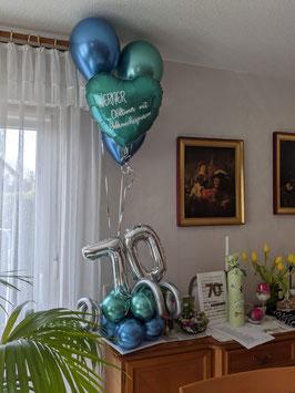 """Geburtstagszahl mit Chrome-Helium-Bouquet """"Bleib gesund"""""""