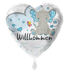 Folienballon Elefant Willkommen hellblau Baby