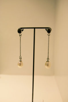 Earring with pearl - silver #19