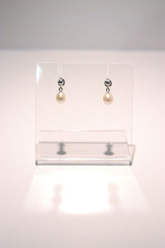 Earrings with pearls - silver #1