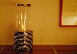Windlicht DIMPLE mit Glaszylinder