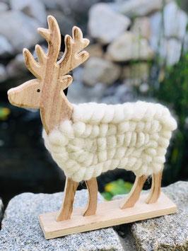 Holz Hirsch mit Wolle