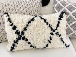 Kissenhüllen - FERNANDO  elfenbein-schwarz mit Wolle