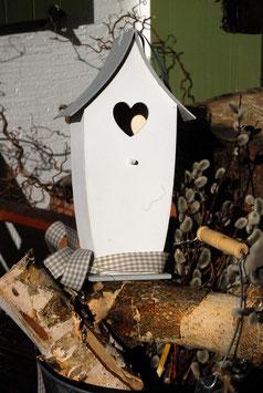 DEKO Vogelhaus in weiß / grau