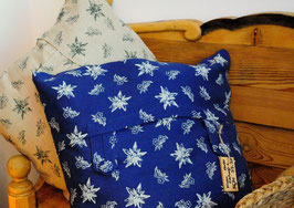 Landhaus-Kissen EDELWEISS - blau