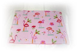 "Kuscheldecke, urindichte Decke 40x60cm  ""Rosa Flamingo"" - Fleecehaltung"
