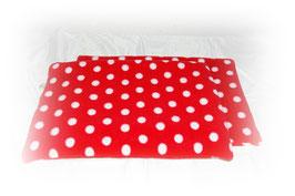 """Auflage """"Punkte rot"""" - beidseitig Fleece -  für Hängemattengestell"""
