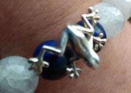 XXL Bergkristall Lapislazuli Armband mit Frosch in 925 Sterling Silber