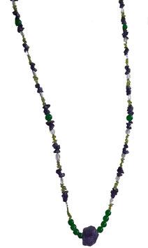 Amethyst-Peridot-Bergkristall-Jadekette mit naturbelassenem Amethyst-Nugget