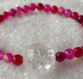XL Armband mit Pink Amethyst und XL Bergkristall Kugel