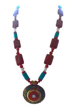 Endloskette mit rotem Jaspisquadern,Aragonoitsplittern, Türkiswalzen und Schmuckanhänger (Tibet-Messing)