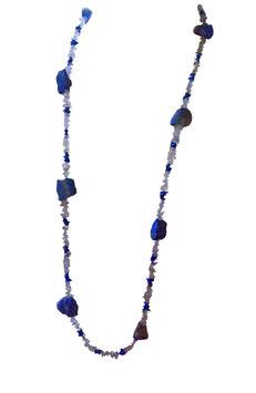 Endloskette mit Lapislazuli-Nuggets (Naturbelassen), glasklaren Bergkristallsplittern und Lapislazulisplittern