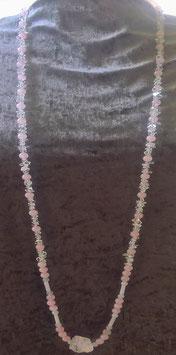 Maxi Endloskette Rosenquarz-Bergkristall mit naturbelassenem Bergkristall-Nuggets