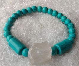 XXL Armband mit Türkis und großen Bergkristall Natur Nuggets