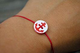 Armband mit Ankerknopf Rot