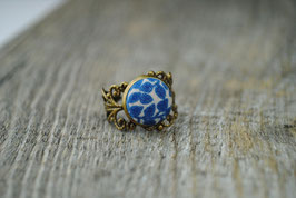 Vintage Ring Blaue Blumen