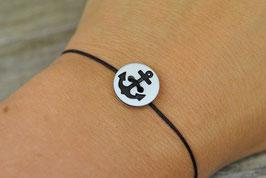 Armband mit Ankerknopf Schwarz