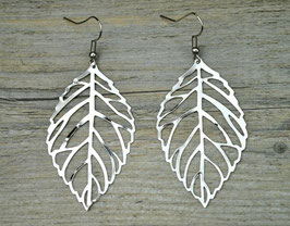 Ohrringe mit Blatt Silber