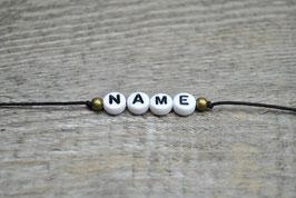 Armband mit Wunschname und Kugel (Baumwollband)
