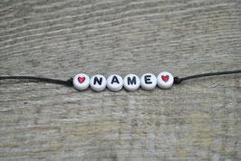 Armband mit Wunschname und Herz (Baumwollband)