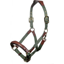Head collar -Luna-, leather & nylon H- 12742