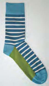Strumpf | Blau/Weiß geringelt