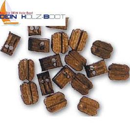 Blockrolle doppelt aus Walnuss-Holz 5mm