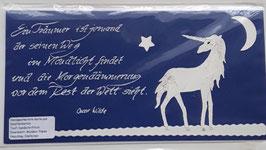Karte Einhorn dunkelblau, Oscar Wilde